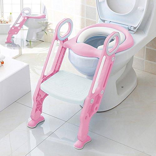 Aitsite Toilettensitze mit rutschfesten Leiter Schritt Töpfchen & Trittschemel Griff für Kinder Babys Kleinkinder (Rosa)