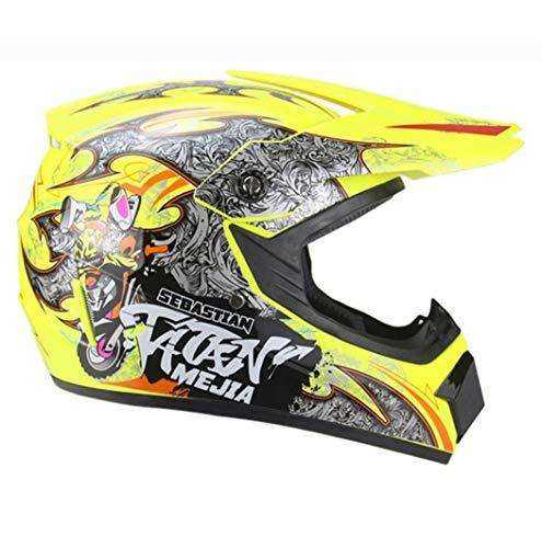 Casco per motociclista per ragazzi Off Road Casco integrale con stampa a colori unisex Cappellini di sicurezza da corsa per tutte le stagio
