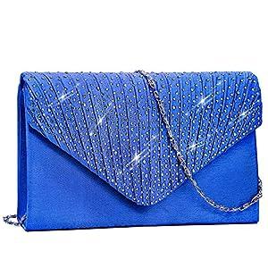 BestoU Monedero de Embrague Clutch Bolso de Noche Bolso Bandolera Bolsos de Mujer Envelope Bolso de Mano de Mujer Bolso de La Tarde de Las Boda Del Para La Muchacha (Azul)