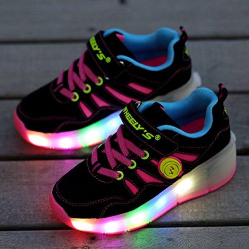 Voovix Kinder LED Light Up Blinkt Roller Schuhe Outdoor Training Sneaker Shoes as Geschenk Für Jungen Mädchen und Damen LED-Rosa