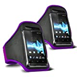 ONX3 - TWIN PACK - Samsung Galaxy S3 Neo (Dual Sim) verstellbarem Schultergurt Jogging Wandern Gymnasium Sports Armband (Purple)