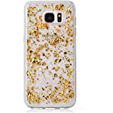 """Nnopbeclik [Coque Samsung Galaxy S6 Edge Plus Transparente] Paillettes Briller Style Backcover Doux Soft Housse pour Samsung Galaxy S6 Edge Plus Coque Silicone """"G928F"""" (5.7 Pouce) Anti choc Protection Antiglisse Anti-Scratch Etui - [Or]"""