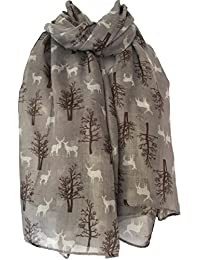 Purple Possum Stag Scarf Deers Grey White Brown Ladies Stags Deer Wrap Navy Reindeer Trees Shawl