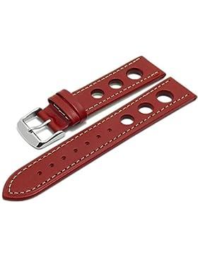 Meyhofer Uhrenarmband Dijon 18mm rot Sattelleder Racing-Look helle Naht MyCrklb530/18mm/rot/hN