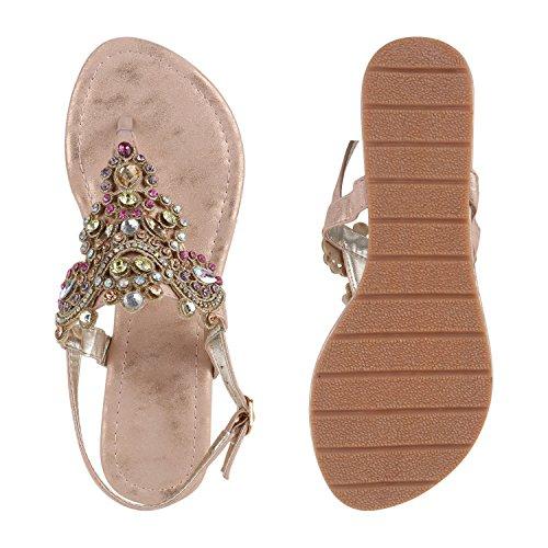 9af4d38094782 ... Damen Sandalen Zehentrenner Metallic Strass Flats Schuhe Rose Gold Gold