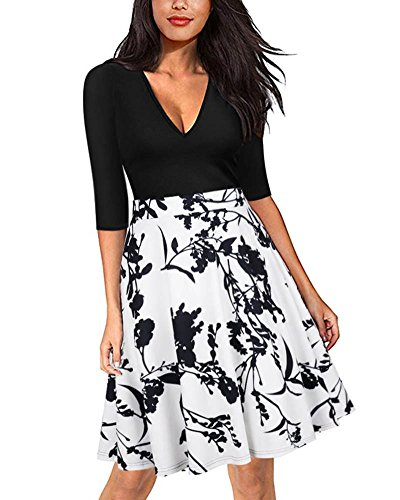Minetom Donna Elegante Vestiti Stampato Floreale Manica Metà Abito Giuntura a Vita Alta Abiti Vestito Dress da Matrimonio Sera Bianco