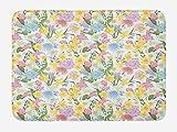 ARTOPB Spring Bath Mat, Valley Flowers Medley of Lilly Hydrangea Pin Cushion Protea Gardenia and...