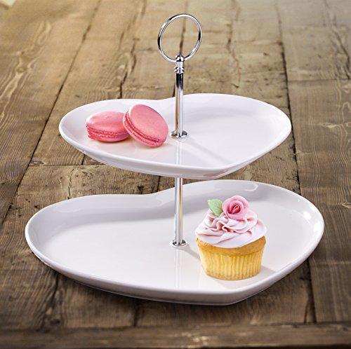 2 Tier White Porcelain Heart Shape Cake Stand