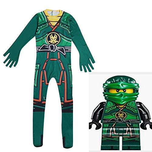 zhaolian888 Halloween Ninja Kostüme für Jungen/Mädchen, Anime Ninja Cosplay Stretch Body (grün/Rot) (Green Ninja Halloween-kostüme)