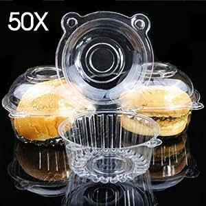 50 Large Single Clear Cupcake Pod Cake Muffin Carrier