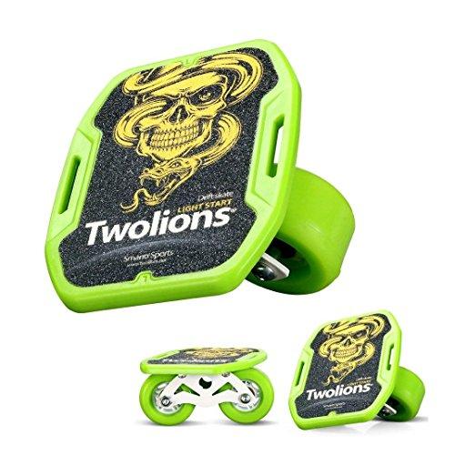 TWOLIONS Drift Skate,Freeline Skates ABS Pedal und 72mm PU Räder 608 ABEC-9 Lager (Grün) -