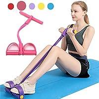 Johiux Cuerda elástica multifunción con Pedal para Ejercicios de Fitness, Abdominales Cintura, Brazo, Pierna, Adelgazamiento, Entrenamiento, tensión, Equipo de Tubo de látex Unisex (Pink)