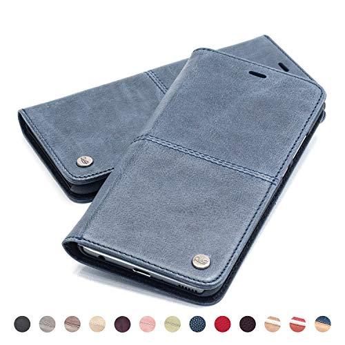 QIOTTI Hülle Kompatibel mit iPhone XR Ledertasche aus Hochwertigem Leder RFID NFC Schutz mit Kartenfach Standfunktion in Blau
