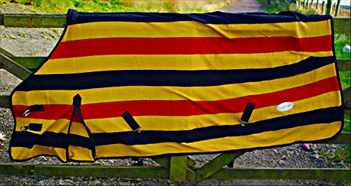 The Pig Oil Company Newmarket Gold Stripe Fleece/Cooler/Travel Rug - Excellent Quality (6'0) 2