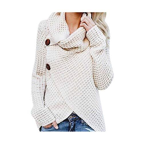 Damen Strickjacke Rollkragen Cardigan Sweatshirt Pullover Knoten Bluse Oberteile T-Shirt Tops Frauen Blusen Hemd Loose FledermausäRmel Sexy Off Shoulder Casual Strick(Weiß,M)