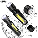 [2 Pack] LED Torch Flashlight USB Rechargeable Tactical Torches Light Zoom Adjustable Focus