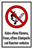 Aufkleber - Keine offene Flamme; Feuer, offene Zündquelle und Rauchen verboten - entspr. DIN ISO 7010 / ASR A1.3 – 15x10cm – S00355-011-A + in 20 Varianten erhältlich