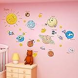 % Solar System Wandaufkleber für Kinderzimmer Sterne Weltraum Himmel Wandtattoos Planeten Erde Sonne Saturn Mars Poster Wandbild