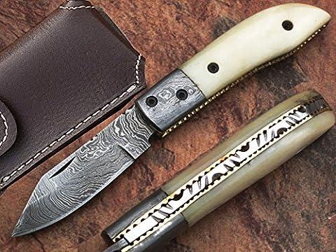 HANDMADE REAL DAMASCUS STEEL 16CM AWESOME FOLDING POCKET KNIFE WITH CAMEL BONE HANDLE: (BDM-29)