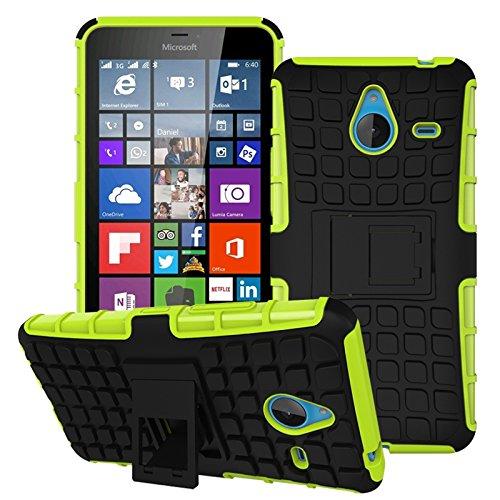 Owbb Hülle für Microsoft Lumia 640 XL Dual-SIM Handyhülle Hartes Silikon PC + TPU Hybrid Combo Zweilagig Case mit Schroff Function Ausklappbarer Ständer Design Reifenmuster Grün