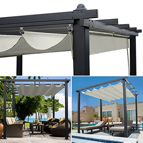 idmarket pergola toit r tractable beige 3x4m tonnelle 4 pieds le jardin adlibitum. Black Bedroom Furniture Sets. Home Design Ideas