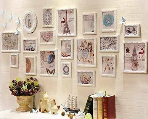 X&L 19 Rahmen großflächig solide Holz Wand Wohnzimmer Café Foto Wand kreative Kombination Foto Frame Fotowand , white - 2