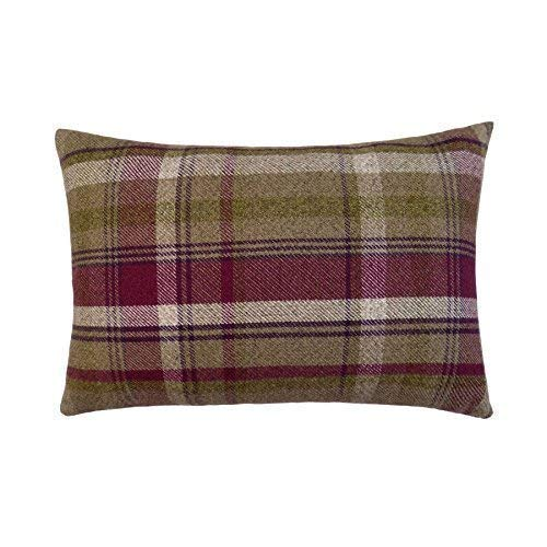 SCHOTTENKARO Baumwolloptik braun grün Hergestellt in Großbritannien Dickes 30 x 50cm Boudoir Kissenbezug -