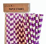 Rifornimenti di carta da regalo eliminabili di compleanno delle cannucce di carta - progettazione di linee orizzontali (Viola, 100)