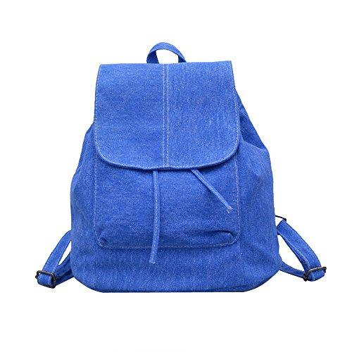 Meoaeo Zainetto Tessuto Denim Stile Zaino Fashion Girls Tutti-Match Bocca Nero blue