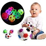 Man9Han1Qxi LED blinkende springende Musik Igel Soccor Ball Fußball Squeeze Toy Geschenk Neuheit lustiges Spielzeug Random Color