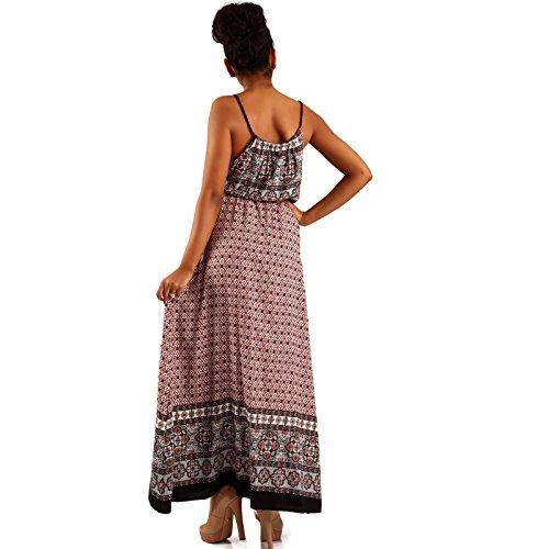 Damen Maxikleid Kleid mit Träger Allover Print Paisley Rot/Schwarz