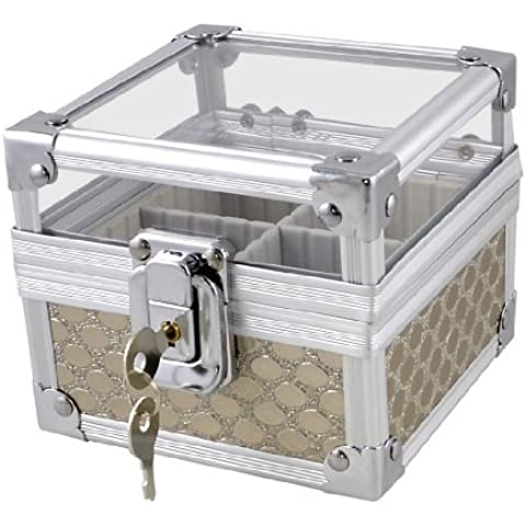 Tono de plata de los puntos de metal Patrón 4 Secciones Lock Plaza Sello Holder Sello Box w Keys