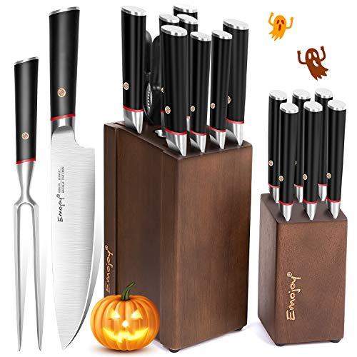 Emojoy Messerblock Set, 17-TLG Messerset mit 2 Block, Küchenmesser mit Steakmesser, extrem scharf Kochmesser, Doppelstahl