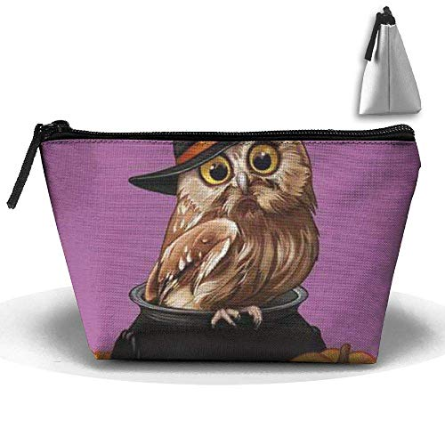 Trapezoide Kosmetiktaschen Pinsel Tasche Halloween Eule Make-up Tasche Zipper Wallet Hangbag