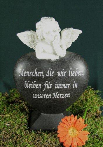 floristikvergleich.de 25cm Steinharz Herz mit Engel Grabstein Gedenkstein Grab Deko Grabschmuck Trauer