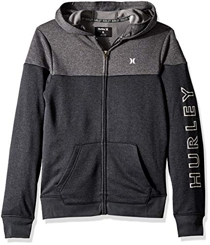 Hurley Boys' Big Solar Zip Up Hoodie, Black Heather/Grey, XL