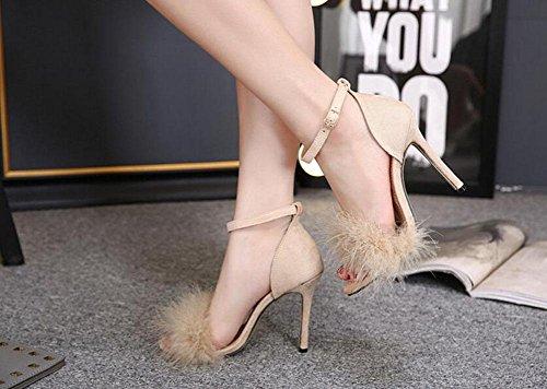 GLTER Femmes Pumps Talons hauts Plumes Sandales à talons hauts Chaussures creuses en peluche Chaussures de cour apricot