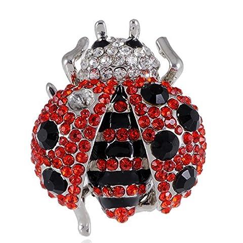 Big Fat Ruby Rouge Pois Noir Jet Black Lady Bug strass en cristal bague réglable