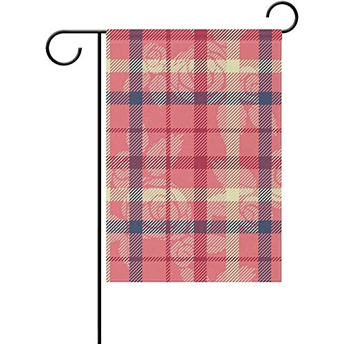 hdgfjhdfjdf Floral Roses Tartan Plaid Checkered Striped Garden Yard Flag Banner for Outside House Flower Pot Double Side Print 12