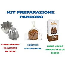 Kit Pandoro Artesanal Navidad–Kit N ° 15CDC (1molde Pandoro de 750gr, 1aroma Decora Gusto Pandoro, 5sobres de polypropylene Cast 35my 320x 435)