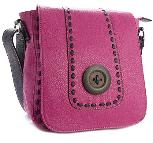 Big Handbag Shop da donna alla moda in finta pelle, bottone-Borsa Messenger Rosa (rosa)