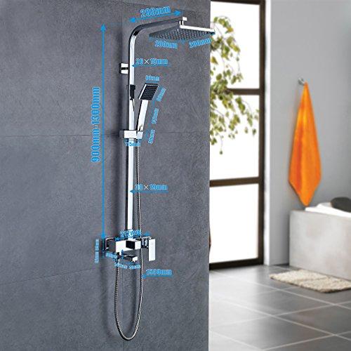 regendusche set von bonade duschset brausegarnitur duschsystem eckig - Regendusche Set