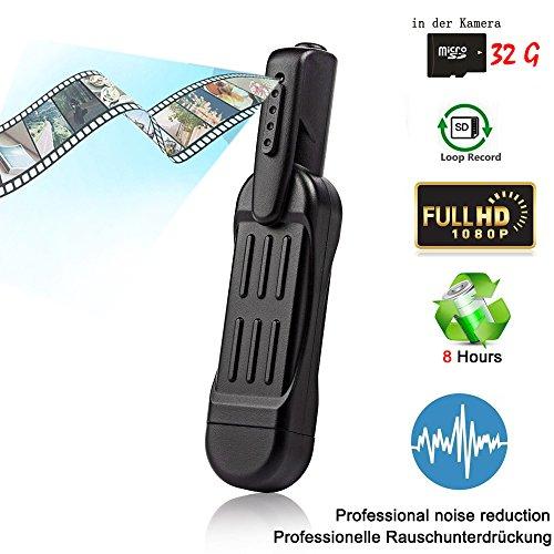 MICF 1080P Überwachungskamera Mini Kamera USB Kamera tragbare kleine Kamera Stift Diktiergerät, Real-HD-Video, Ton- und Bildaufnahme, Multifunktionales Aufnahmegerät mit 32GB