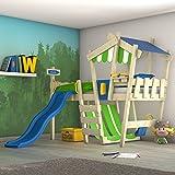 WICKEY Kinderbett mit Rutsche CrAzY Hutty Hochbett mit Dach Abenteuerbett mit Lattenboden, apfelgrün-blau + blaue Rutsche, 90x200 cm