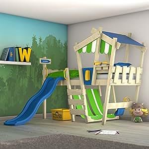 wickey kinderbett mit rutsche crazy hutty hochbett mit dach abenteuerbett mit lattenboden. Black Bedroom Furniture Sets. Home Design Ideas
