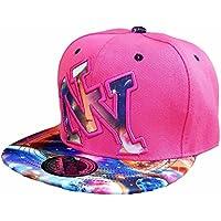 Cappello da baseball snap back Cap New York Fittet Donna Uomo USA, Pink Multicolor, Einheitsgröße mit verstellbarem Verschluss hinten