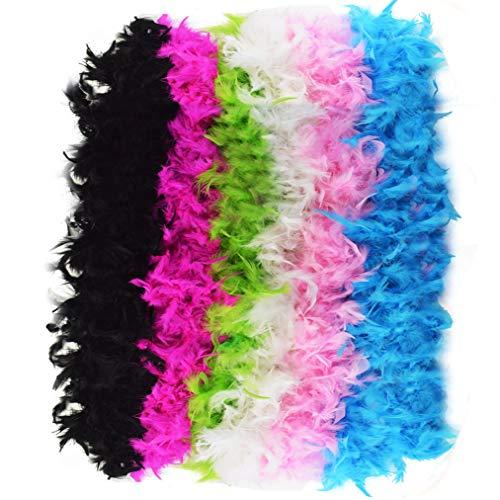 Jerbro - 6 Piezas Boa de Plumas de Colores Suaves para Mujer, niña, Fiesta, Glamour, Disfraz de cumpleaños, Carnaval, Despedida de Soltera, 2 Metros