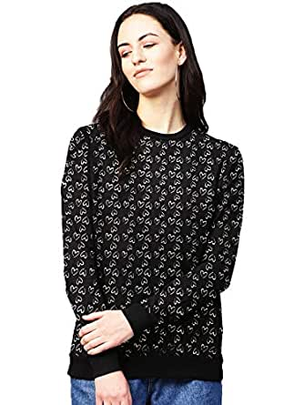 Leotude Printed Black Grey Sweatshirt for Women (Black, Small)