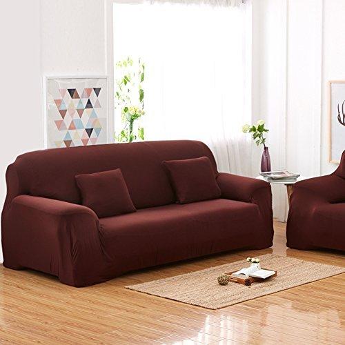 Copridivano a 3 posti lounge, tratto pieno fodera elastico, 7 colori solidi opzione ( colore : marrone )