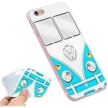 Phone Kandy® Volkswagen VW Camper Van TPU gel de silicona suave Retro caso / cubierta y protector de pantalla - Prime (iPhone 7 / iPhone 8, furgoneta azul)